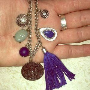 Jewelry - Blue Jewel hippie BoHo Silvertone  charm necklace